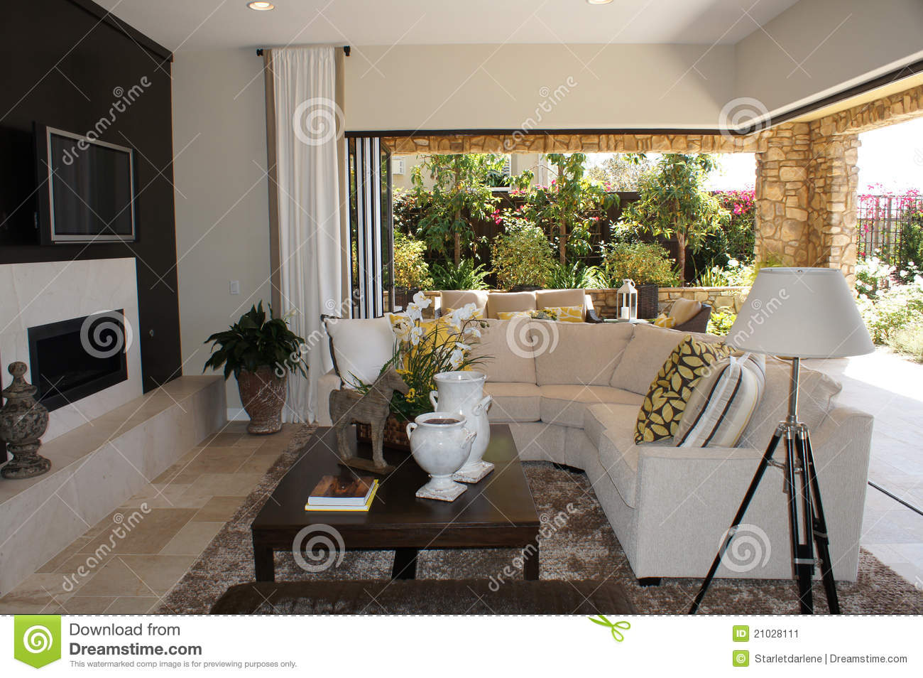 Family Room With Outdoor Livingroom Stock Image  Image of