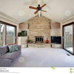 Living Room Themes Modern Small Decorating Ideas Houzz Family With Stone Fireplace Stock Photos - Image ...