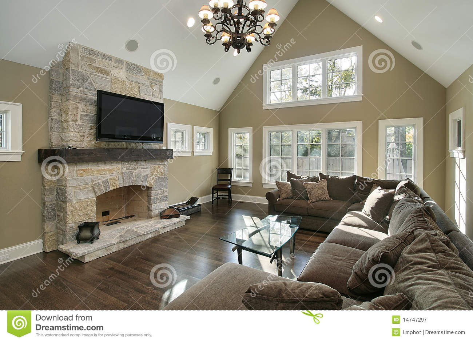 sofa table design plans tienda de sofas zona norte madrid family room with stone fireplace royalty free stock ...