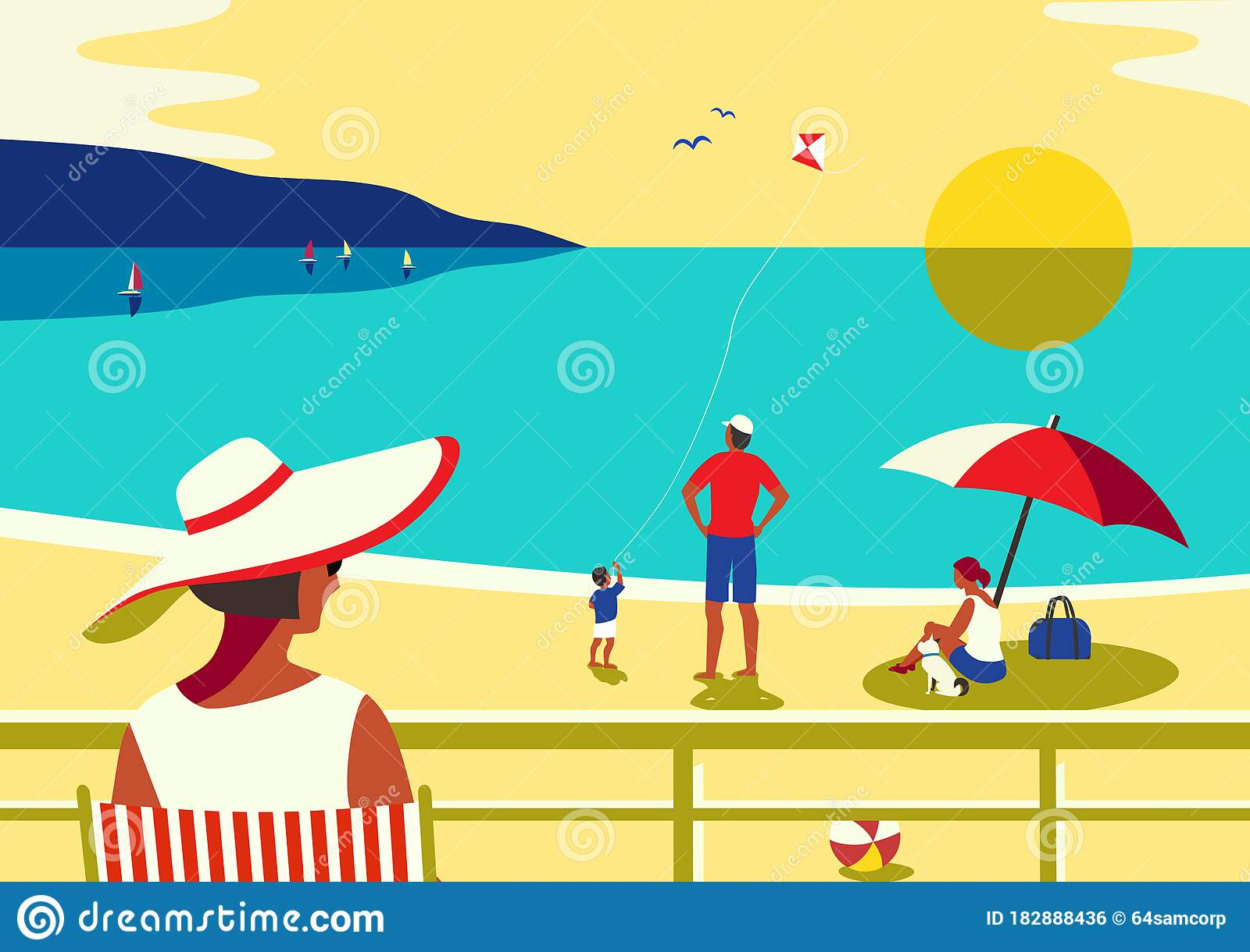 Family Seaside Leisure Relax On Beach Flat Vector Stock Vector Illustration Of Holiday Enjoy 182888436