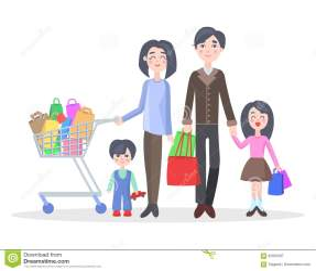 Family Shopping Cartoon Flat Vector Concept Stock Vector Illustration of husband choice: 92955597