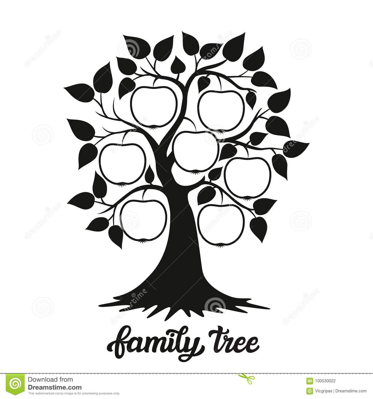 Family Tree Illustration With A Title Stock Vector