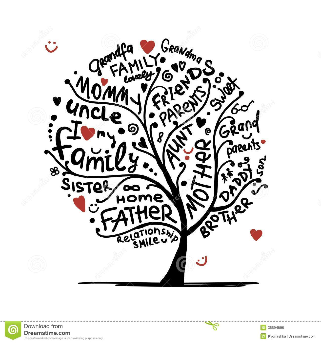 Family Tree Cartoon Vector