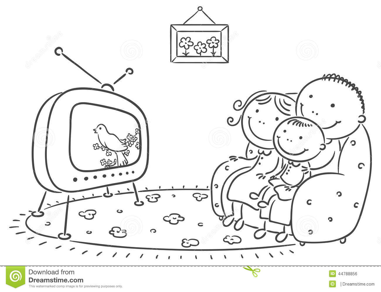 Family Watching Tv Together Stock Vector