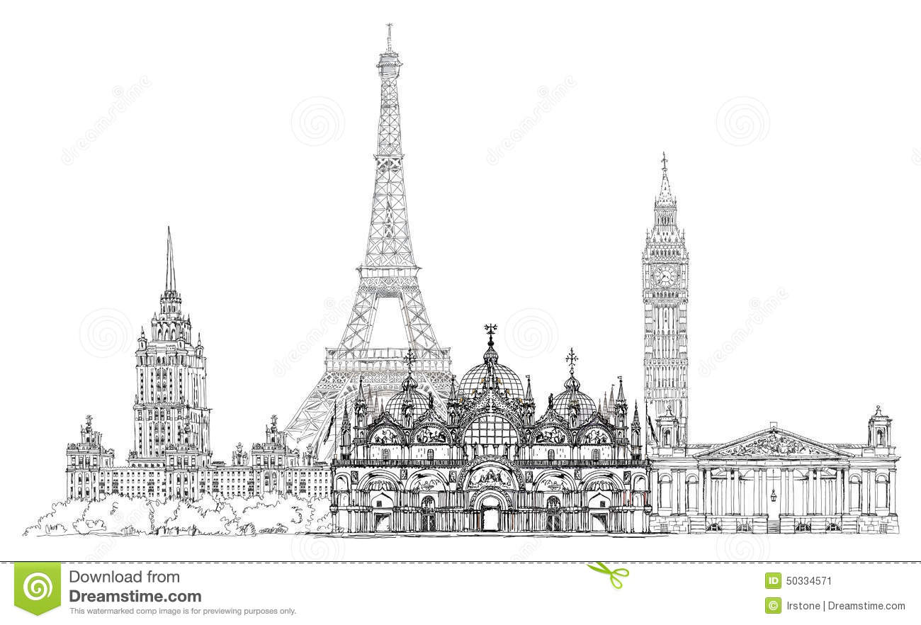 Famous Buildings Of Europe London, Paris, Moscow. Travel