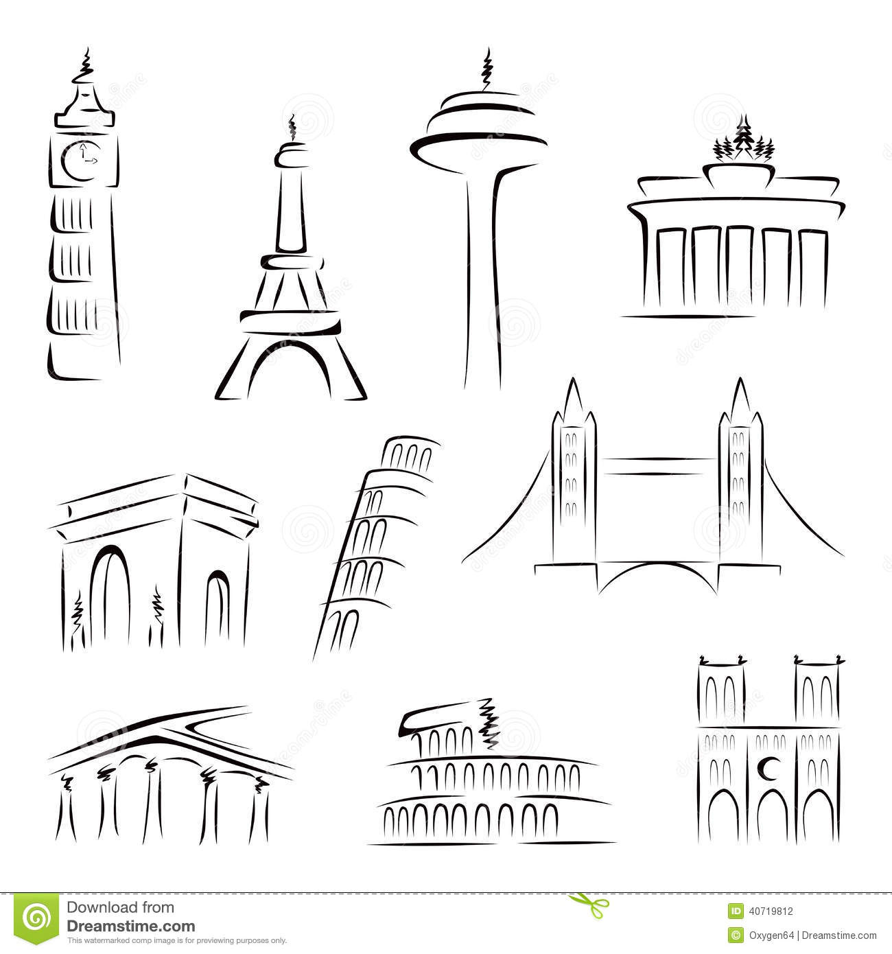 Famous buildings stock vector. Illustration of collection