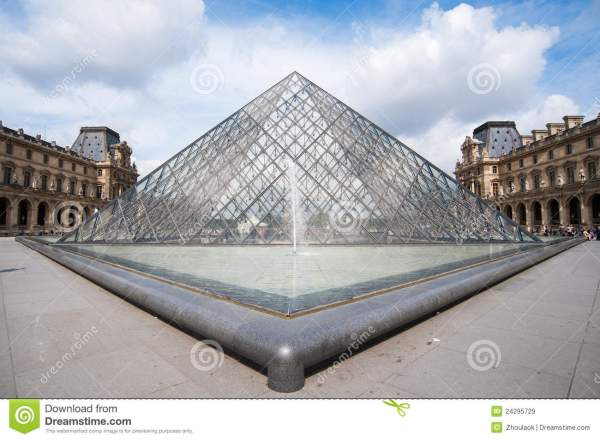 Famous Glass Pyramid Of Louvre Museum Editorial Stock