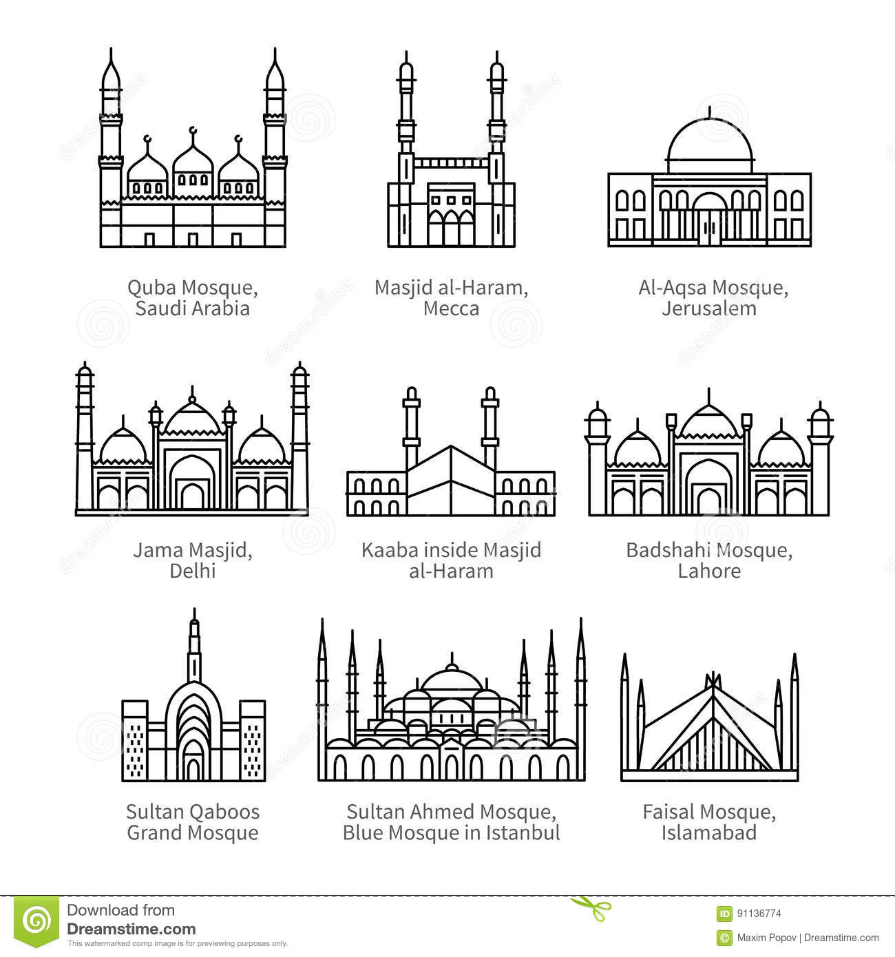 Famous Mosques And Islam S Holiest Places Stock Vector