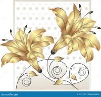 Fancy golden flower design stock vector. Illustration of ...