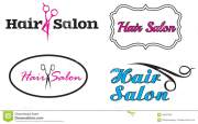 fancy hair salon four logos stock