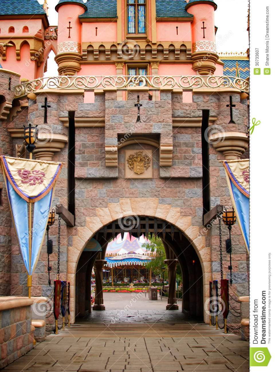 Fantasy Castle With Flags And Iron Gate Royalty Free Stock