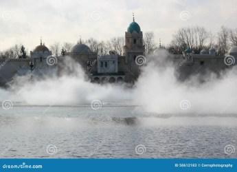 fog castle landscape fantasy