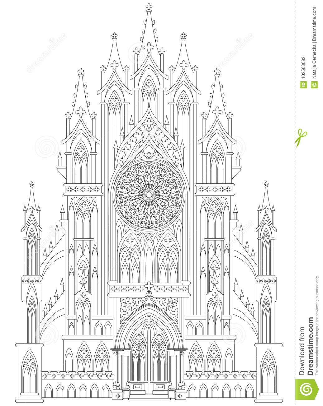 Fantasy Drawing Of Medieval Gothic Castle. Black And White