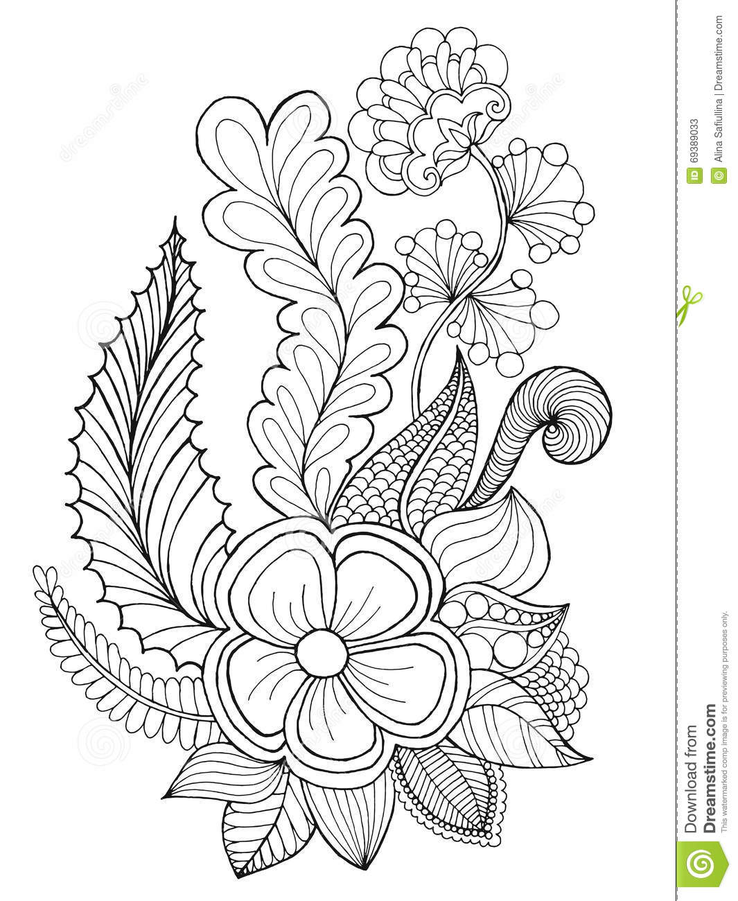 Fantasy Flowers Coloring Page Stock Vector Image 69389033
