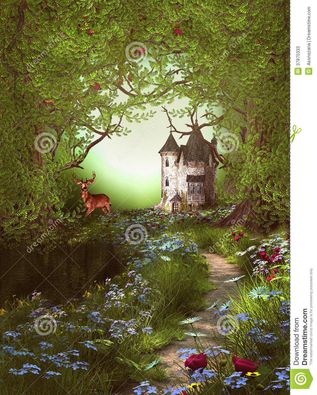 Fantasy Forest Way Castle stock illustration Image of