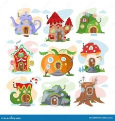 treehouse vector fantasy het della fairy fairytale illustrazione illustratiereeks jonge magische fumetto capanna insieme leggiadramente sugli alberi fantasia vettore dell