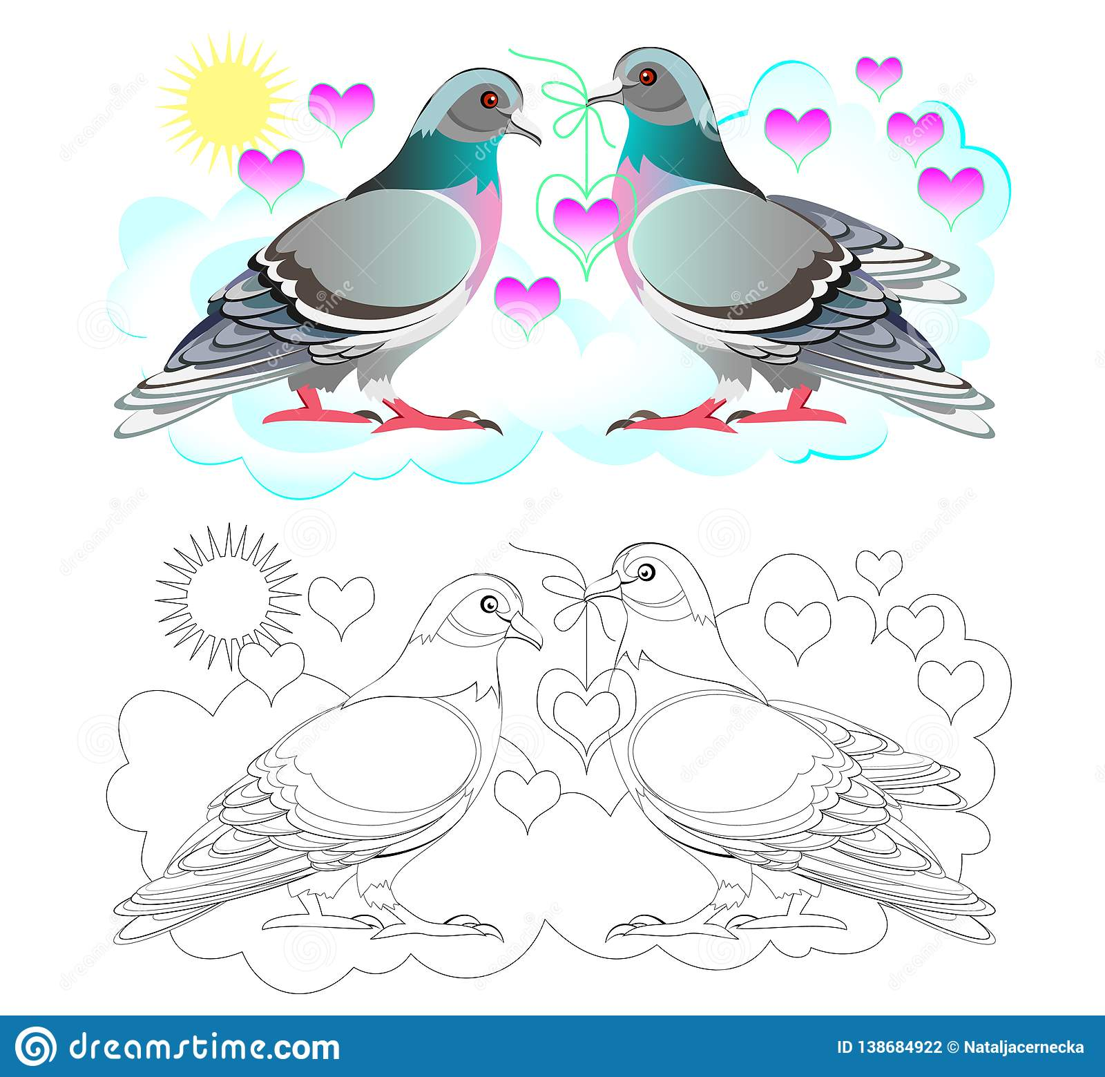 Fantasy Illustration Of Couple Cute Pigeons Colorful And
