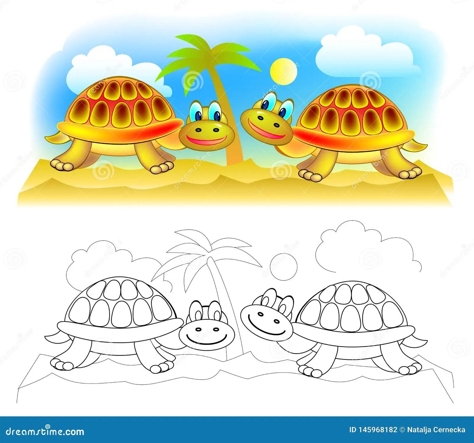 Fantasy Illustration Of Couple Cute Turtles In Desert