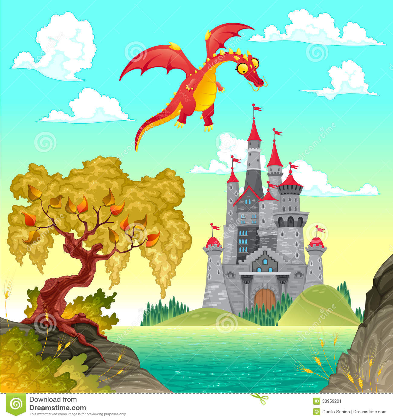 Fantasy Landscape With Castle And Dragon Stock Image