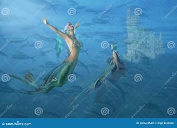 fantasy underwater mermaid castle mermaids fish surreal preview