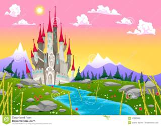 Fantasy Mountain Landscape With Medieval Castle Stock Vector Illustration of castle tower: 47007363