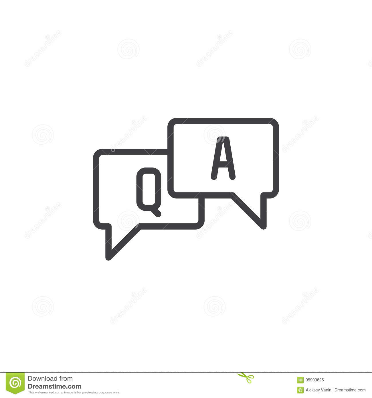 FAQ, Questions And Answers Line Icon, Outline Vector Sign