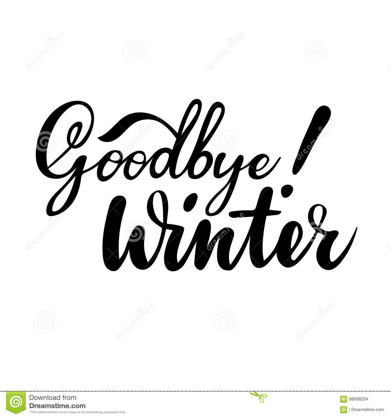 Farewell Greeting Card With Phrase Goodbye Winter Vector