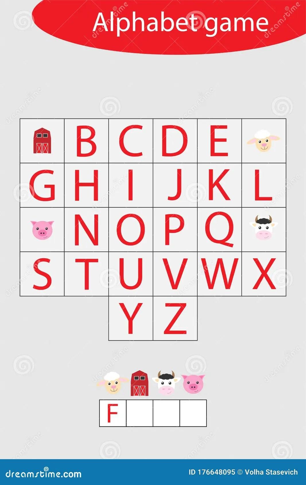 Farm Alphabet Game For Children Make A Word Preschool