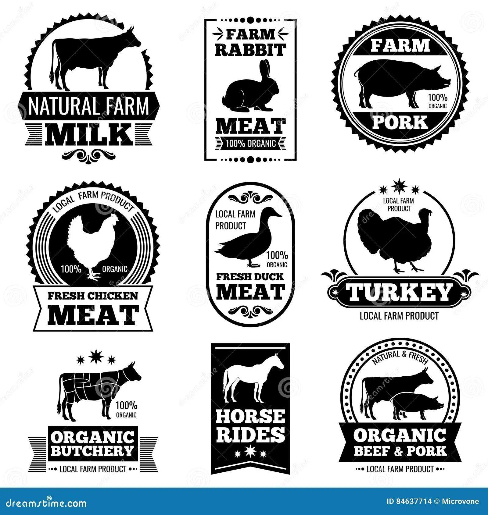 Farm Animal Vintage Meat, Butcher Shop Vector Logos