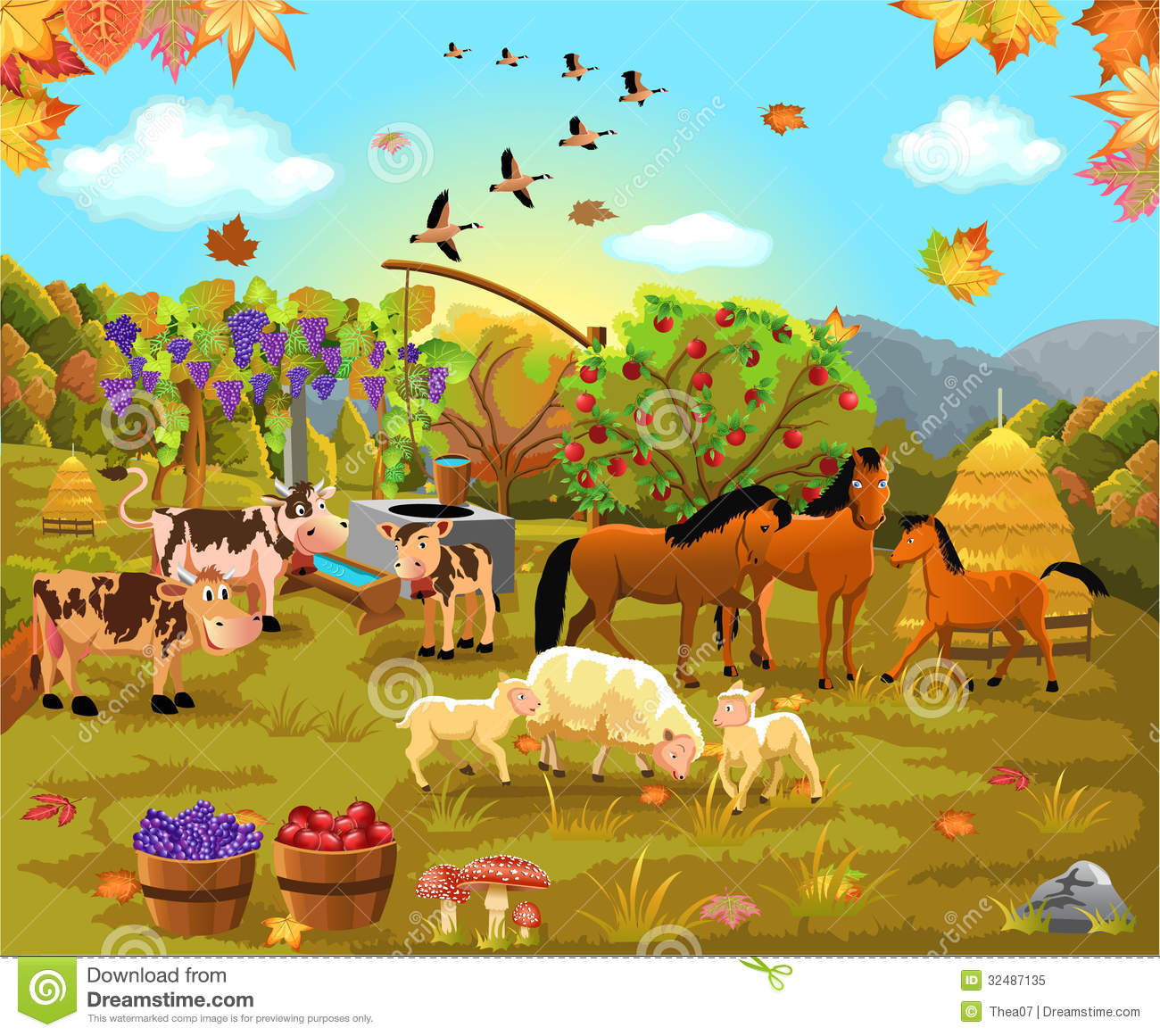 Cute Curious George Wallpaper Farm Animals In The Autumn Field Stock Vector