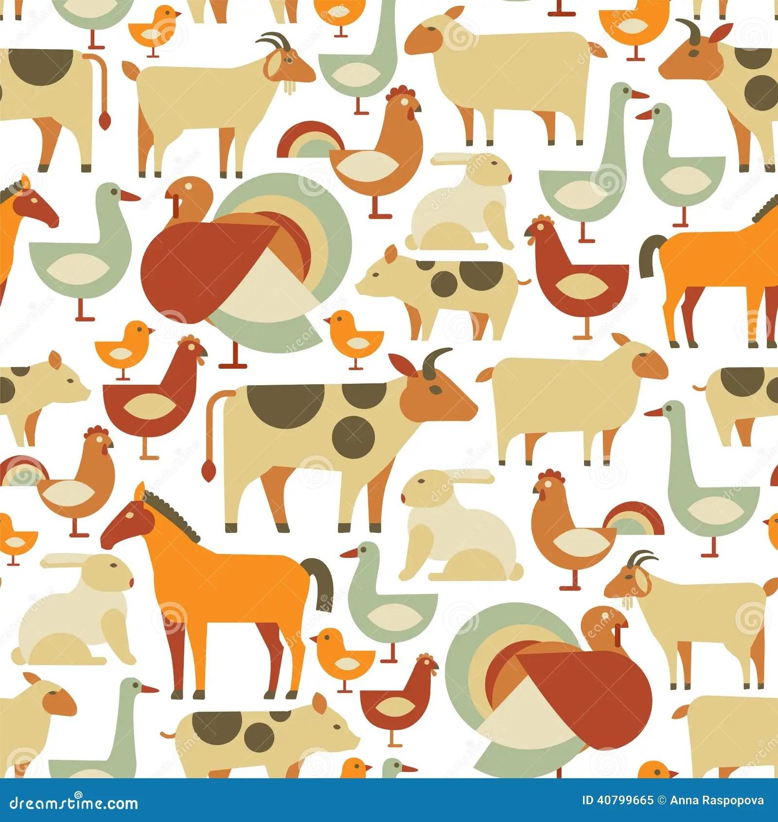 Farm Animals Pattern Stock Vector Illustration Of Mare