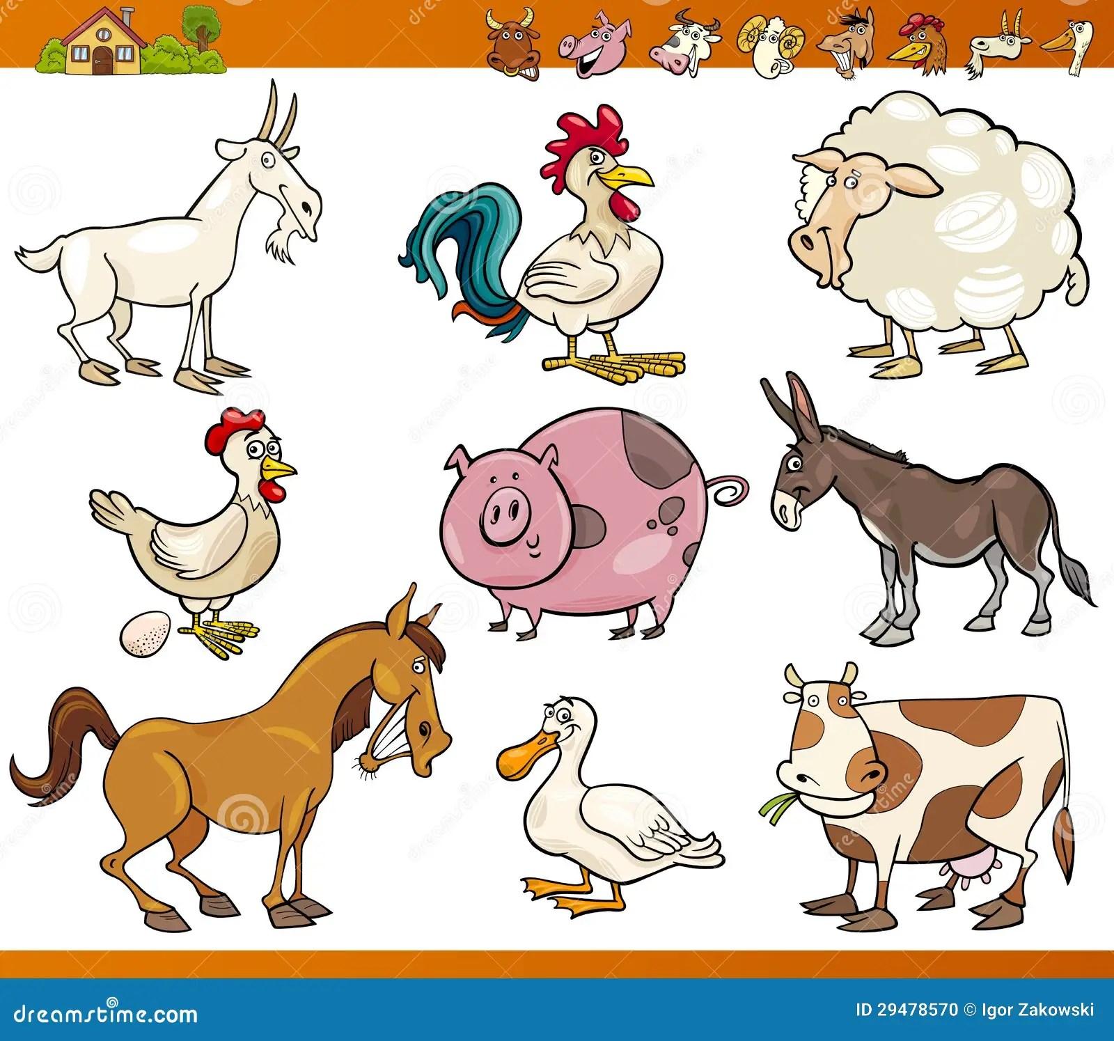 Farm Animals Set Cartoon Illustration Stock Photo