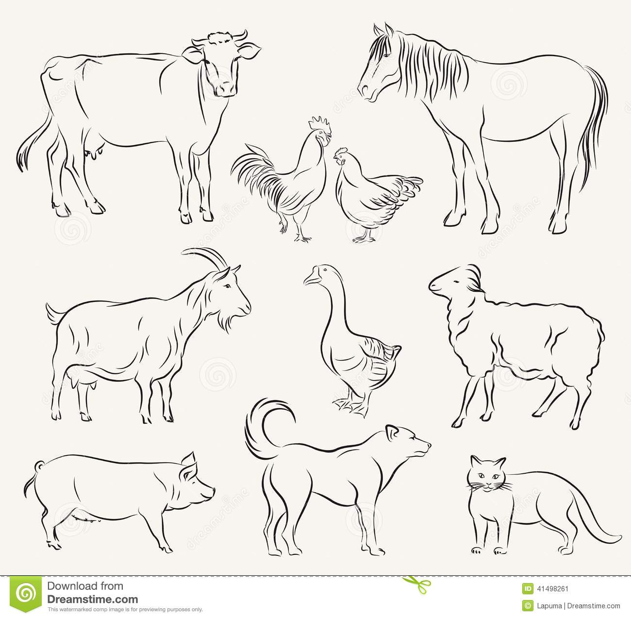 Farm Animals Stock Vector Illustration Of Ruminant Sheep