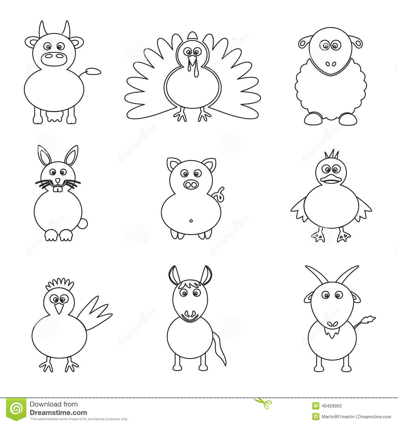 Farm Animals Simple Outline Icons Set Stock Vector