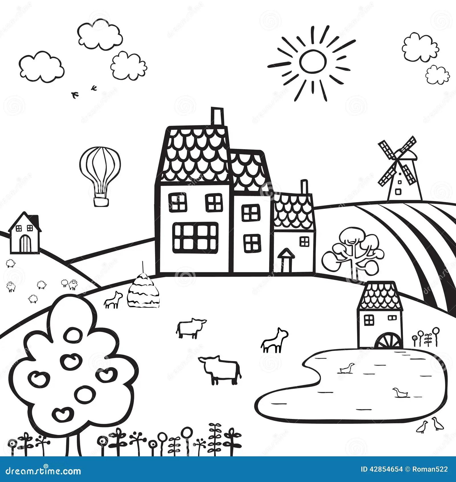 Farm Black And White Landscape Stock Vector