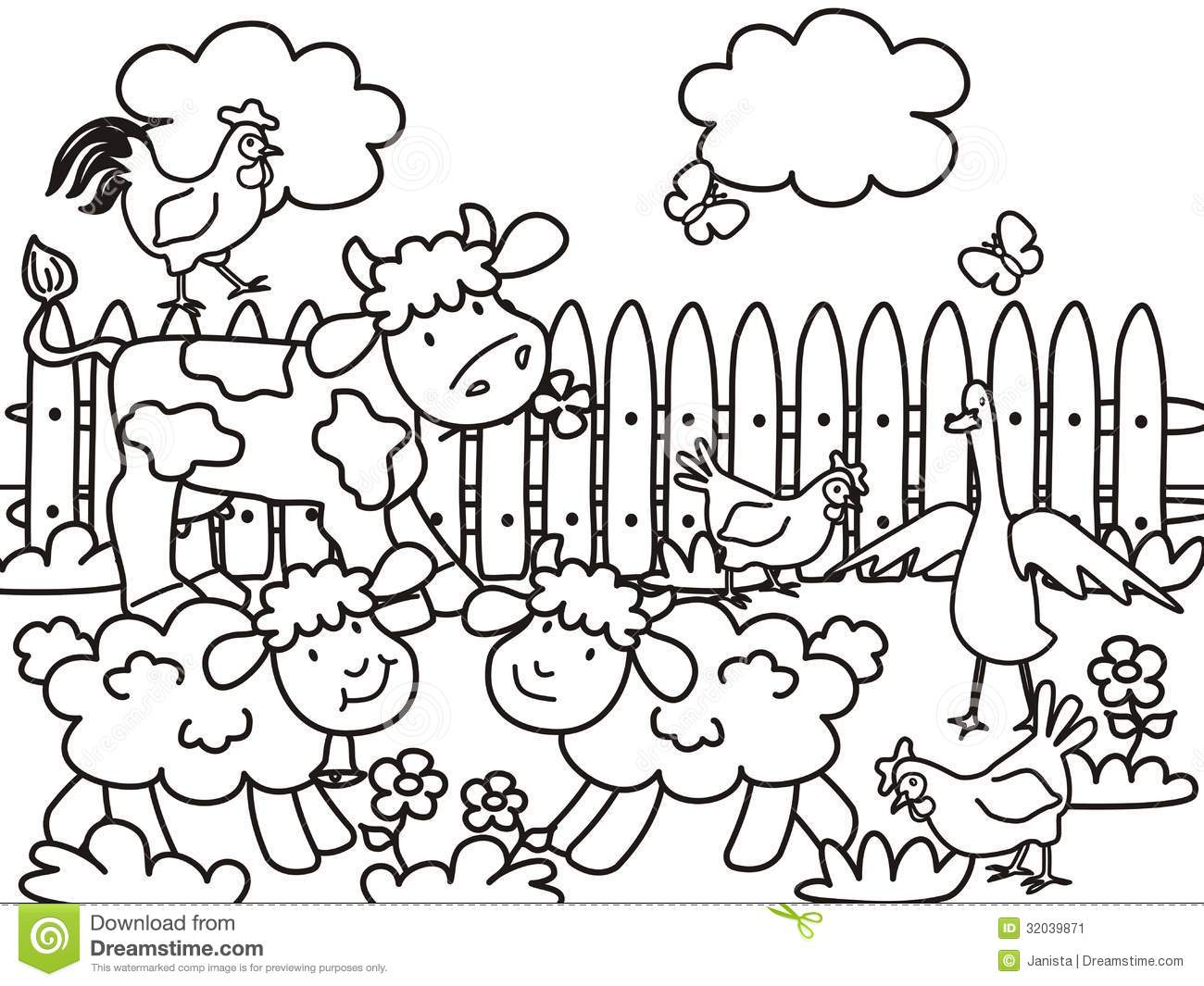 Farm Animals Coloring Book Vector Illustration Stock