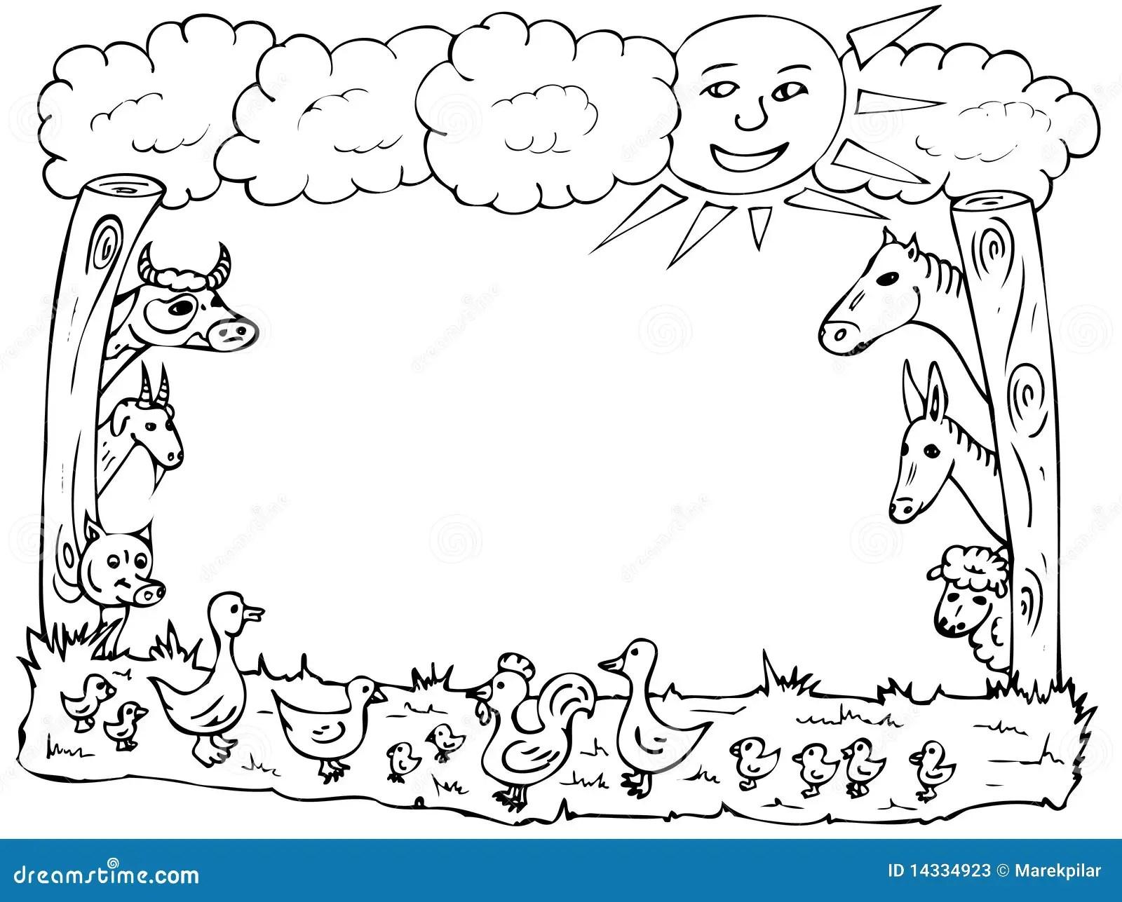 Farm Der Tierefeld Stock Abbildung Illustration Von Ente