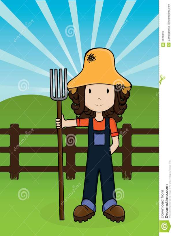 Farm Girl -vector Stock Vector. Illustration Of