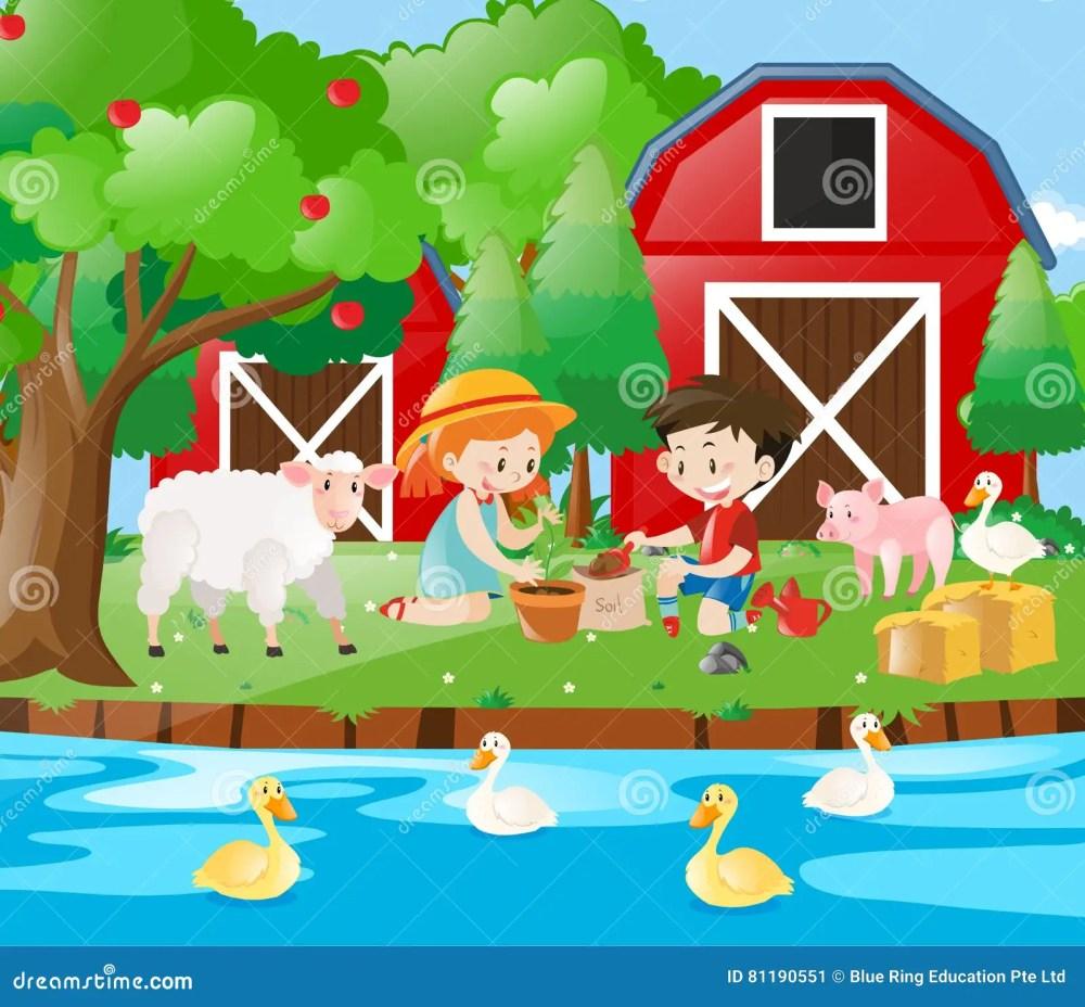 medium resolution of farm scene with kids planting tree