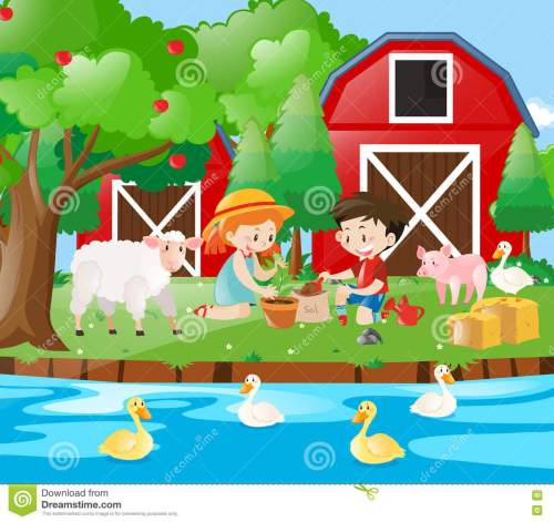 small resolution of farm scene with kids planting tree