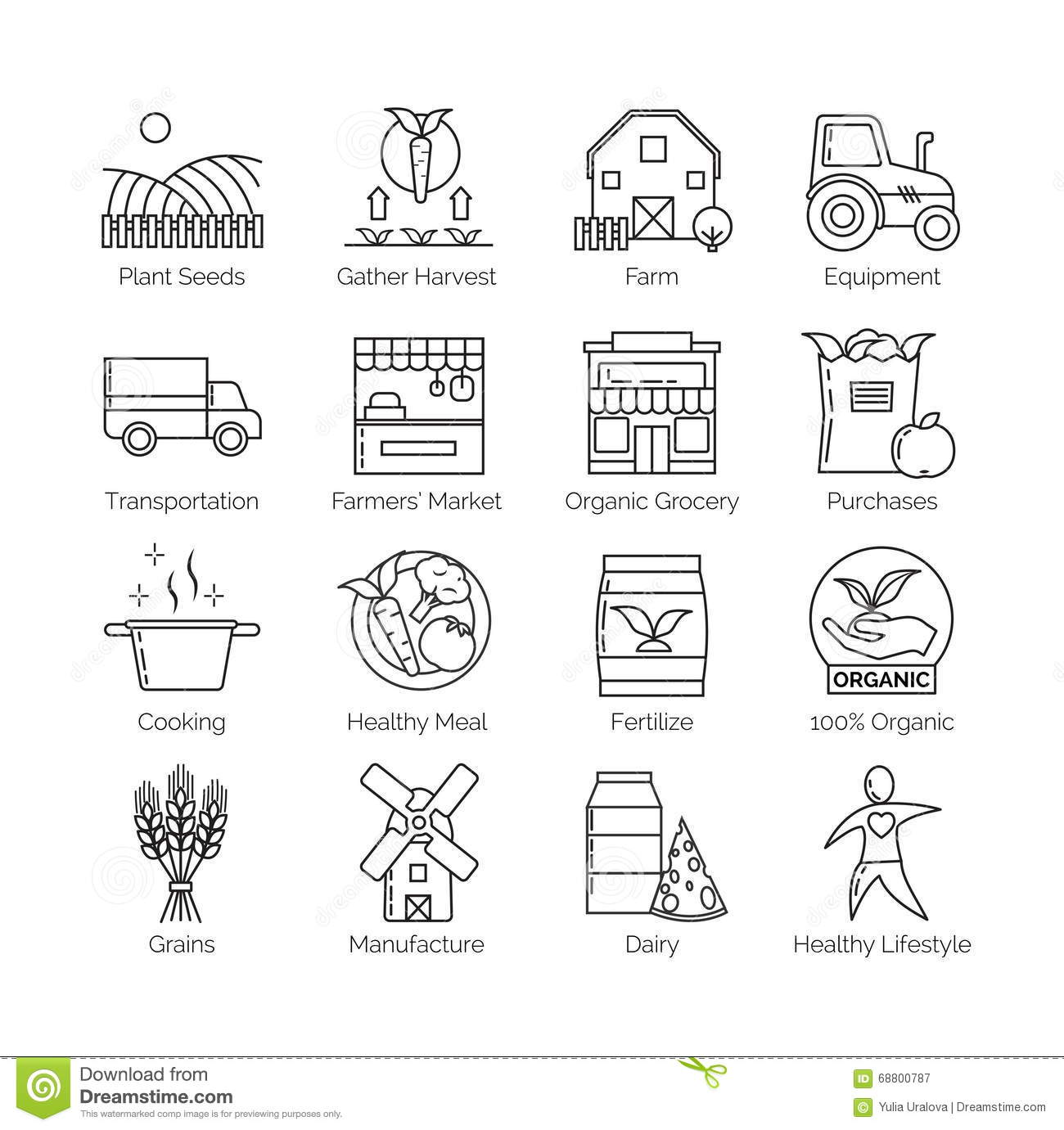 From Farm To Fork Set Of Flat Thin Line Vector Icon