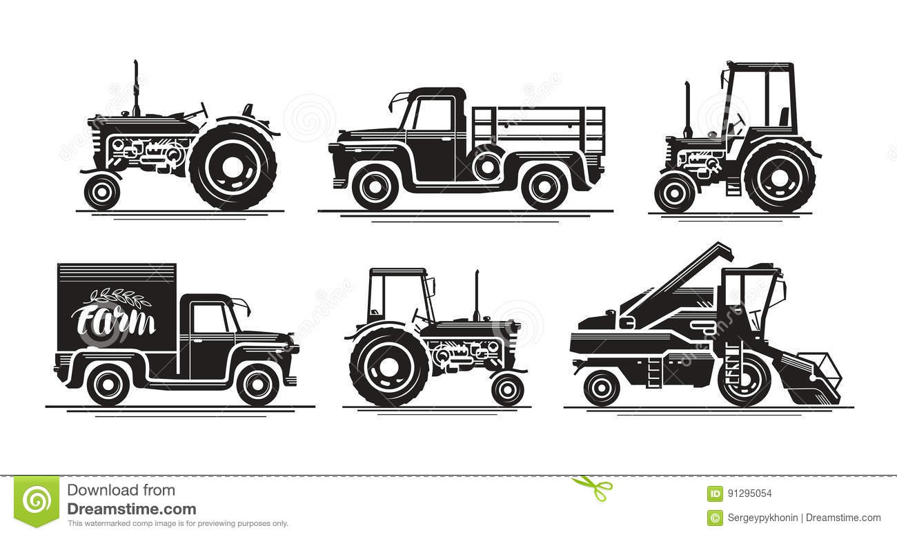 Agricultural Tractor Transport For Farm Cartoon Vector