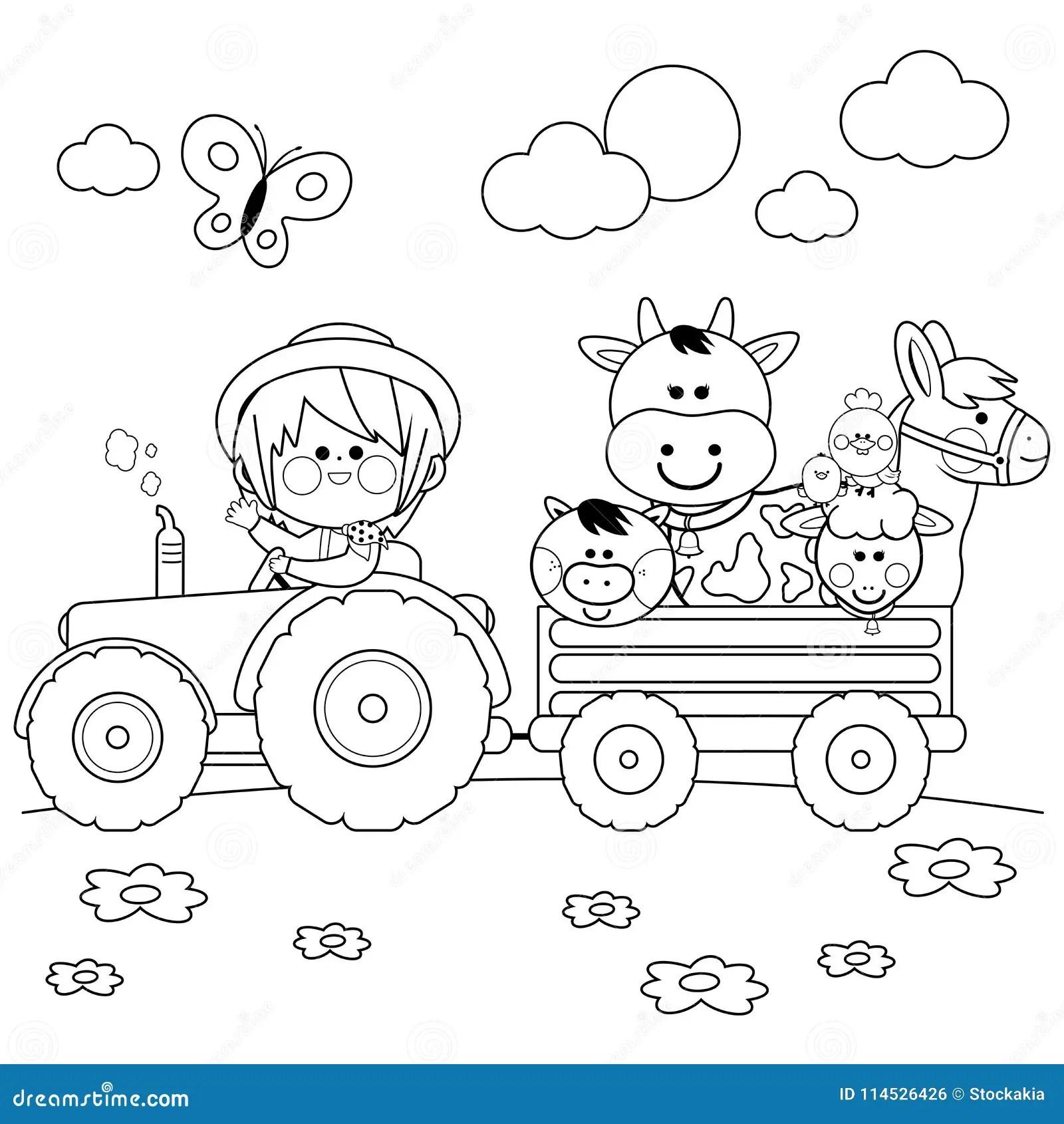Farmer On Tractor Cartoon Vector