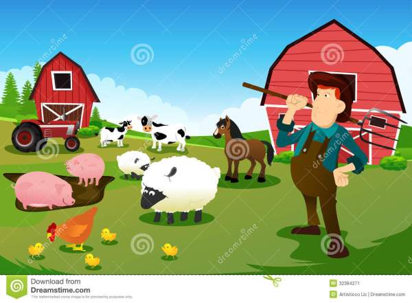 Farmer And Tractor In Farm With Animals Barn Stock Vector - Illustration Of Cartoon
