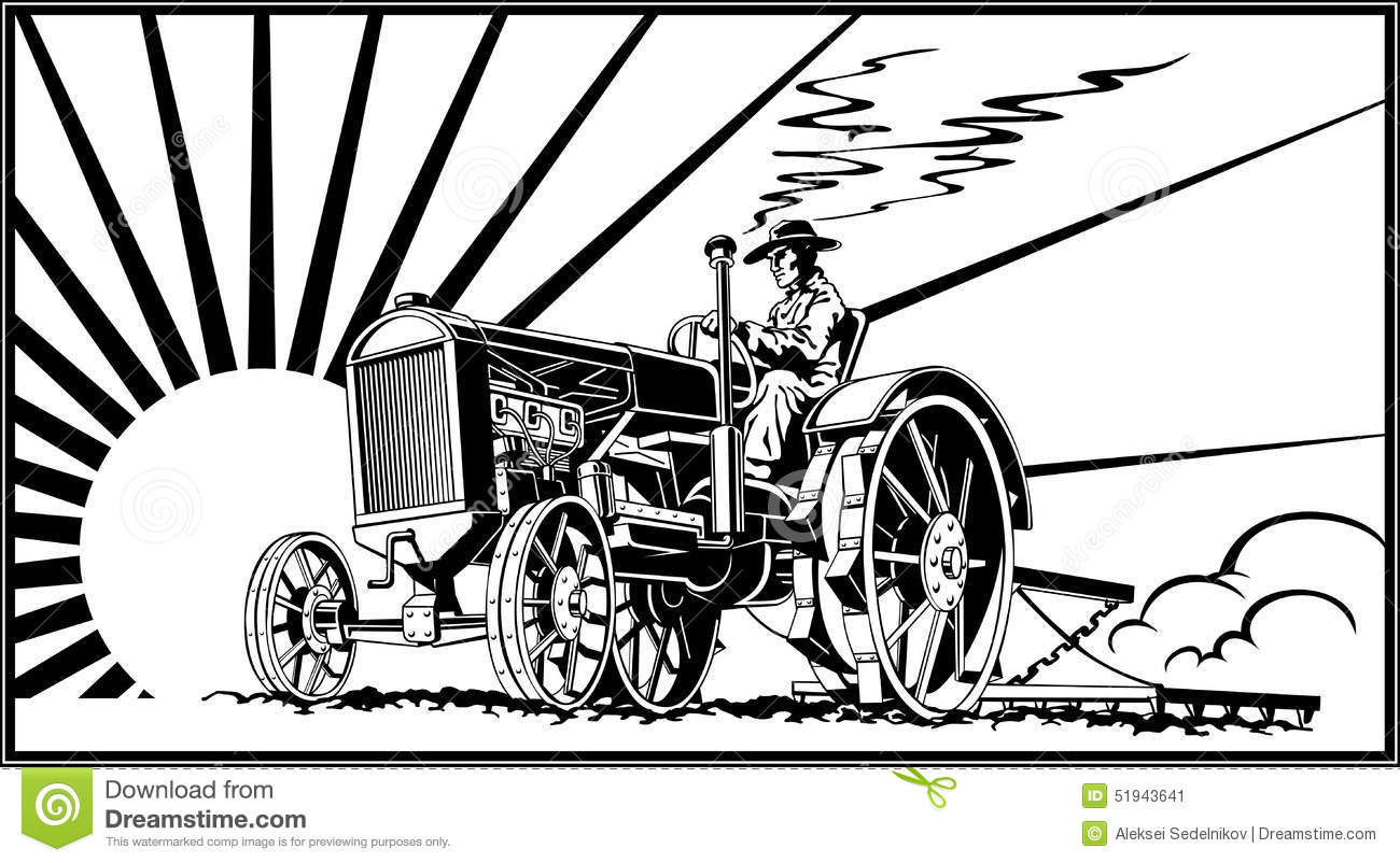 Farmer On A Tractor In The Field Vector Stock Vector