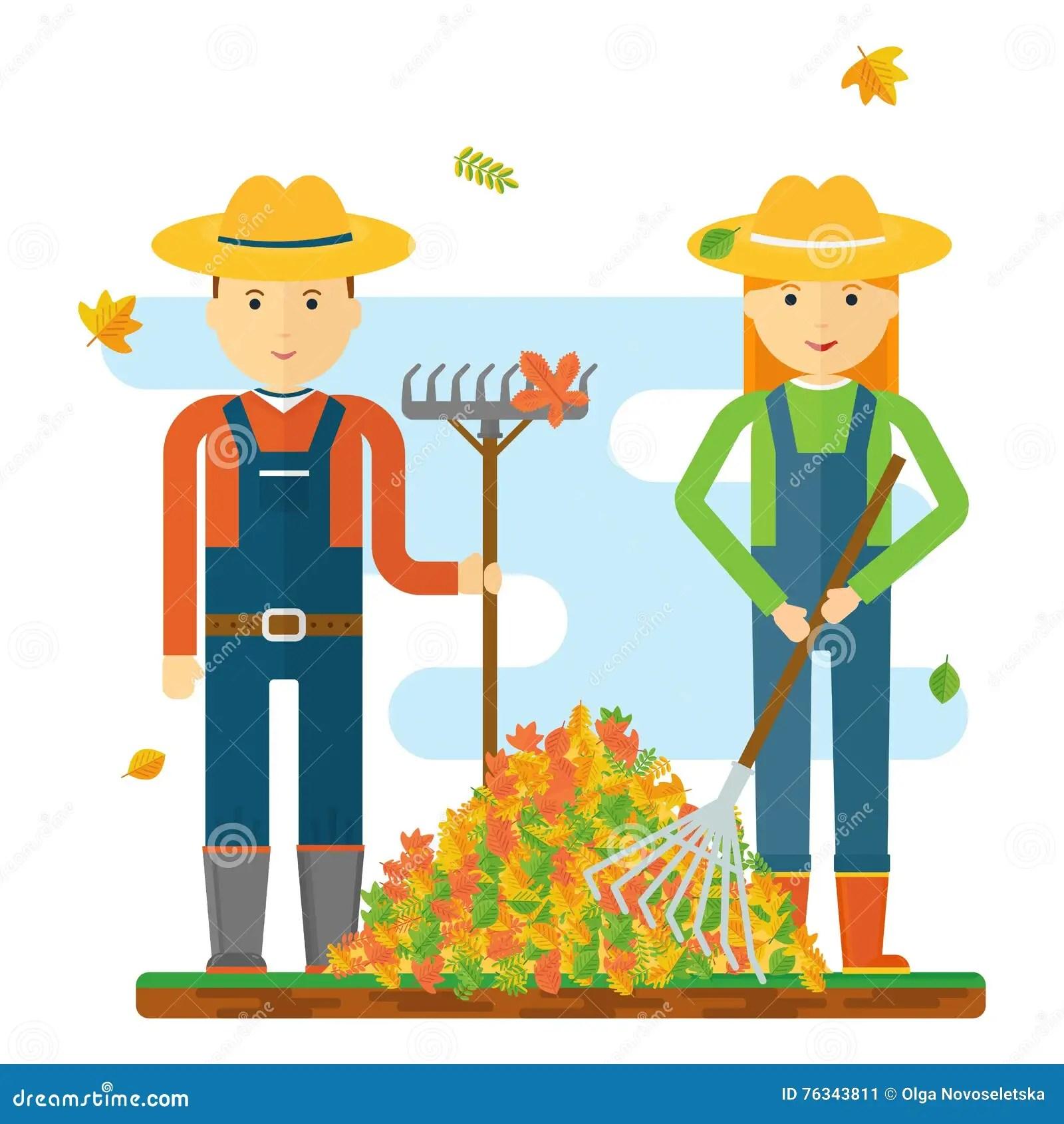 hight resolution of farmers raking leaves