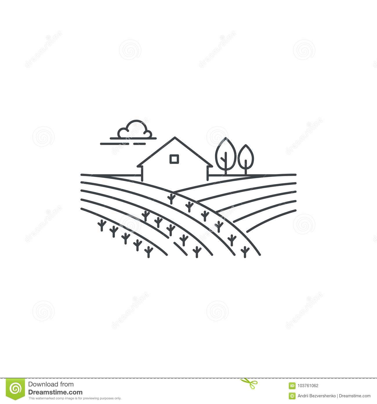 Farmhouse On The Field Line Icon. Outline Illustration Of