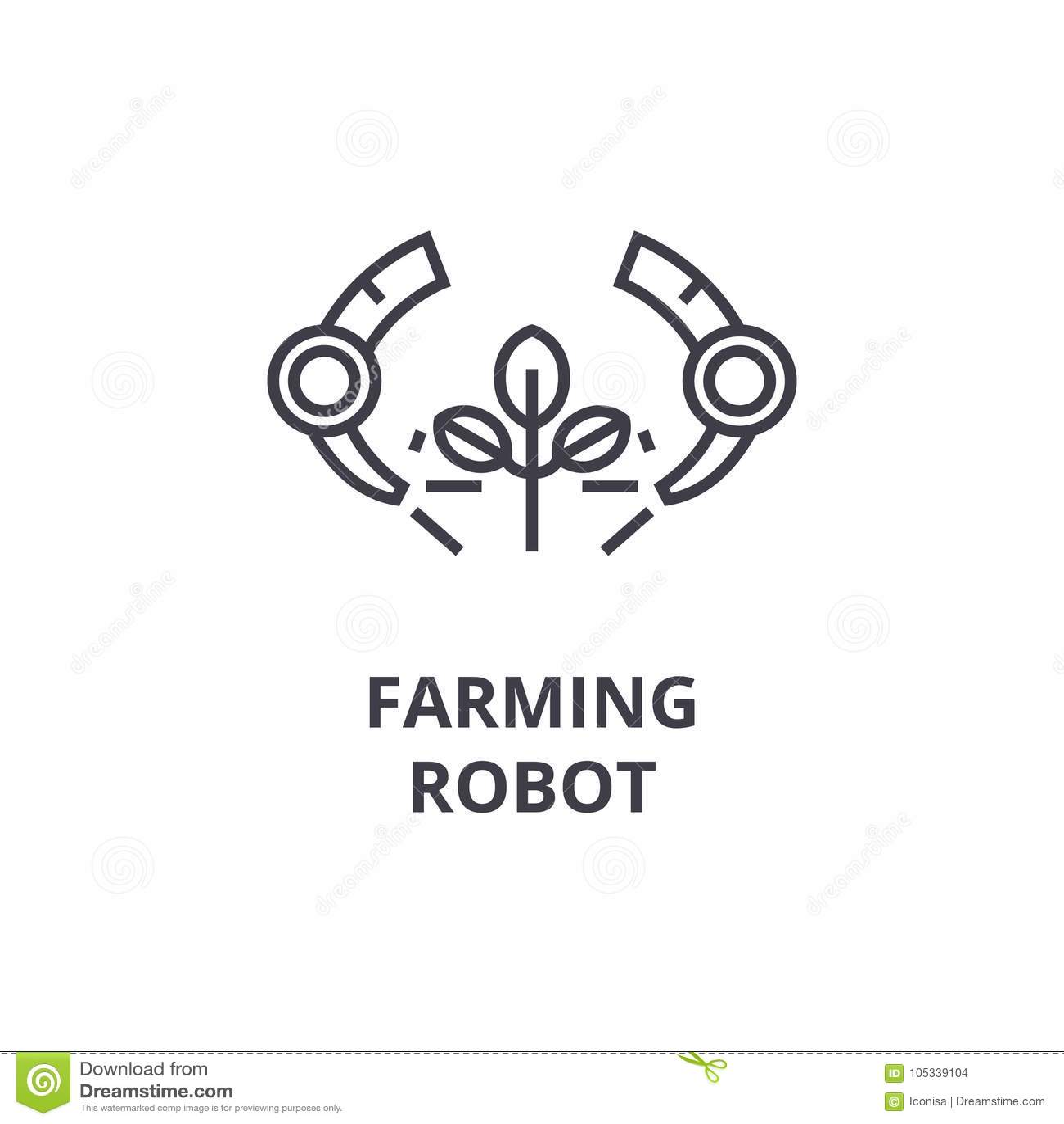 Farming Robot Line Icon Outline Sign Linear Symbol