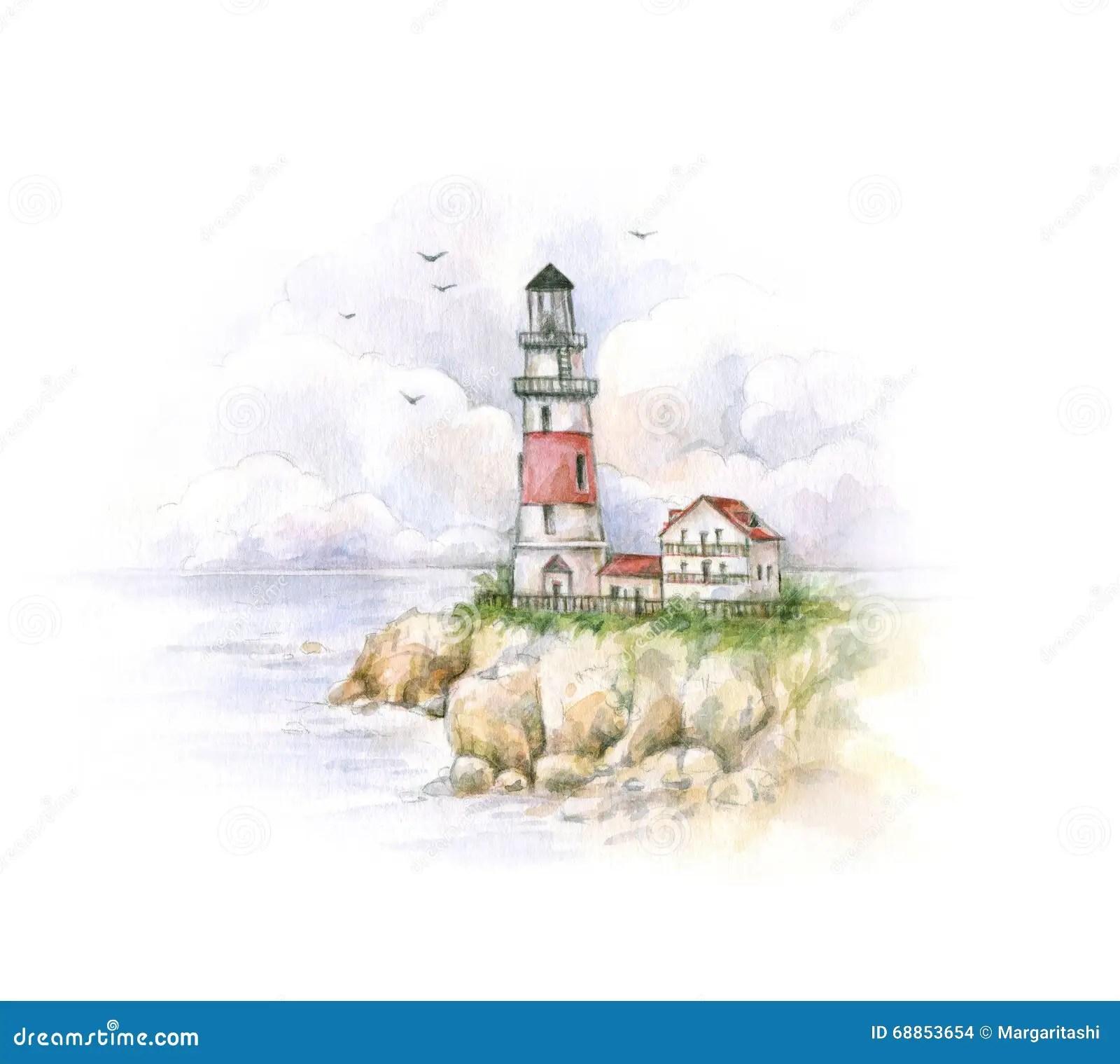 Faro Dellacquerello Disegno Di Un Paesaggio Del Mare Lavoro Manuale Illustrazione di Stock