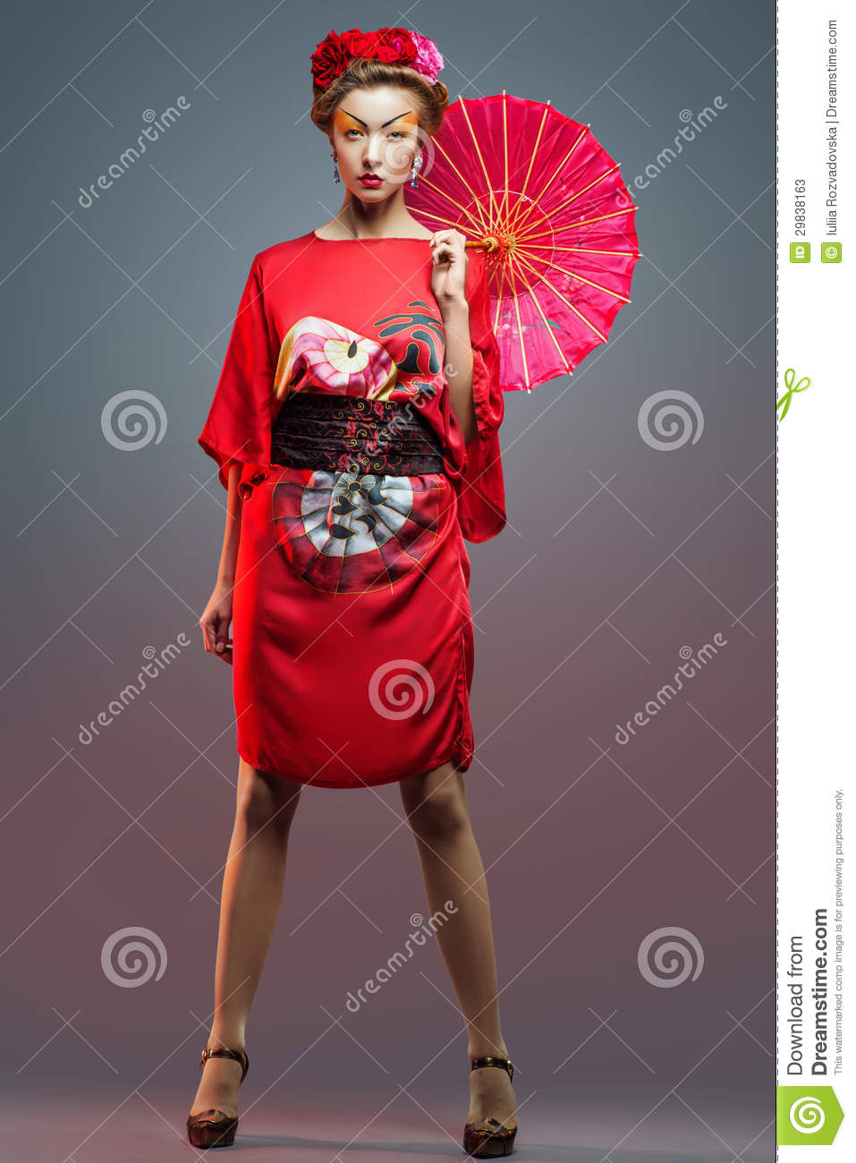 Fashion Asian Woman Wearing Traditional Japanese Red